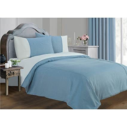 Universal Textiles Lincoln Stripe Pattern Duvet/Quilt Cover Bedding Set (Queen Bed) (