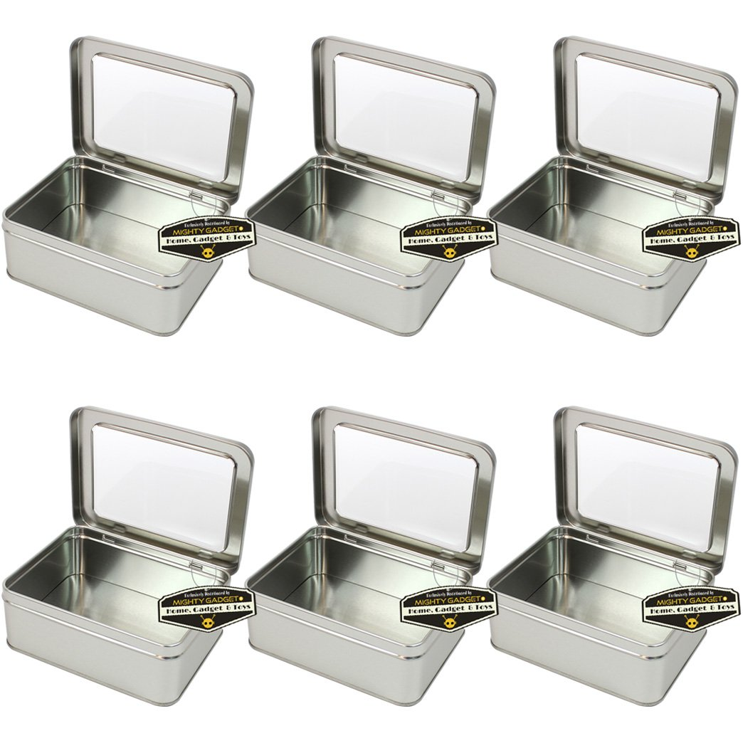 6 Pack - 5.625 x 4.25 x 2.125 Mighty Gadget Rectangular Empty Hinged Lid Survival Tin Container with See Through Window Top for Geocaching or Survival Gear R