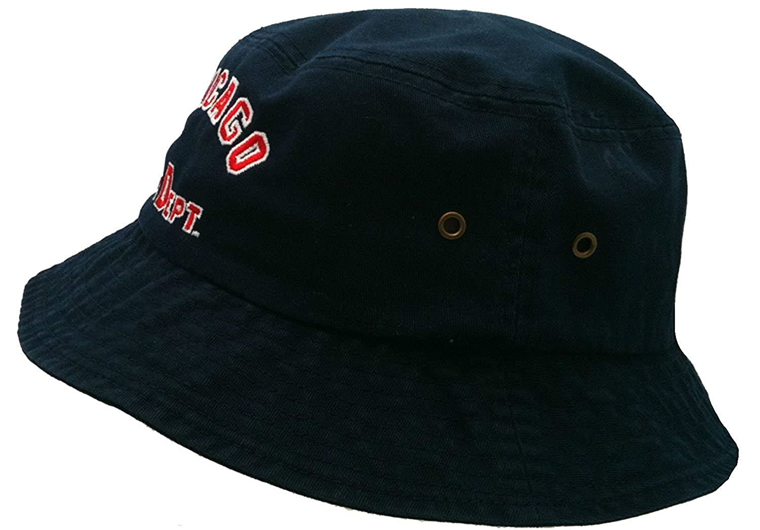 4ba97dac23d40 Chicago Fire Department Arched Logo Navy Bucket Hat at Amazon Men s  Clothing store