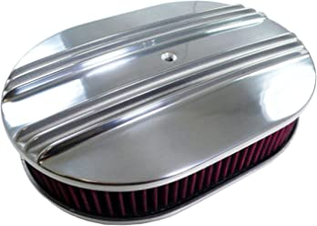 """12/"""" Black Oval Polished Smooth Plain Aluminum Air Cleaner Breather SBC BBC Chevy"""