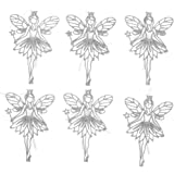 "Christmas Holiday Elegant Glitter Fairy Ornaments, Silver, 6 Pack, 6"" x 4"""