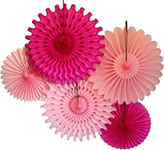 product image for Devra Party Set of 5 Tissue Fans, Pretty in Pink (13-18 Inch)