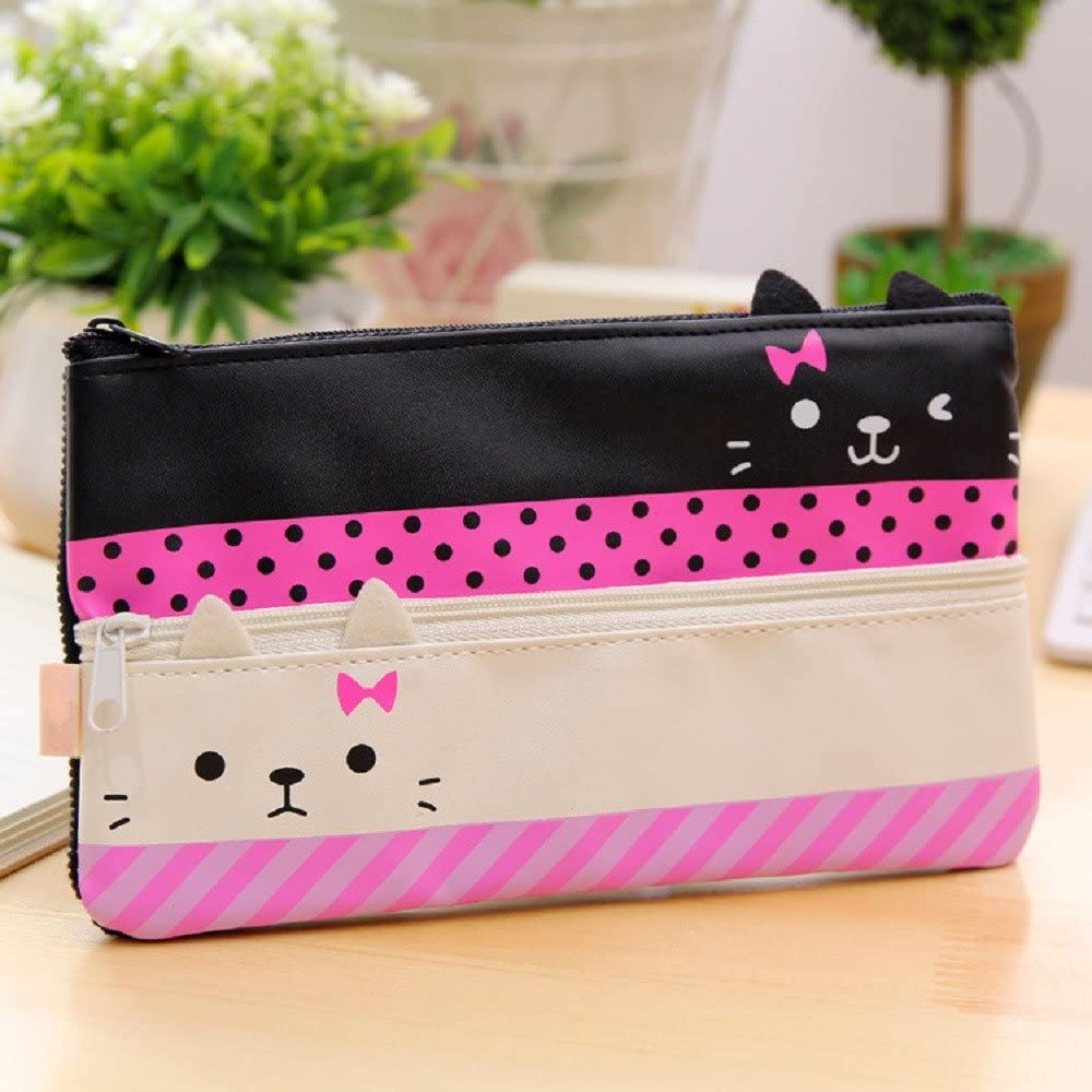 White Funnylive Creative Learning Products,Cute Cat Pencil Case Stationery Pouch Bag Phone Pocket