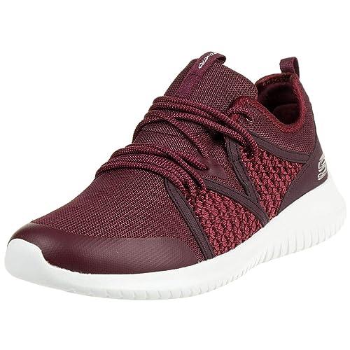 Skechers Mujer Burdeos Ultra Flex New Deal Zapatillas: Amazon.es: Zapatos y complementos
