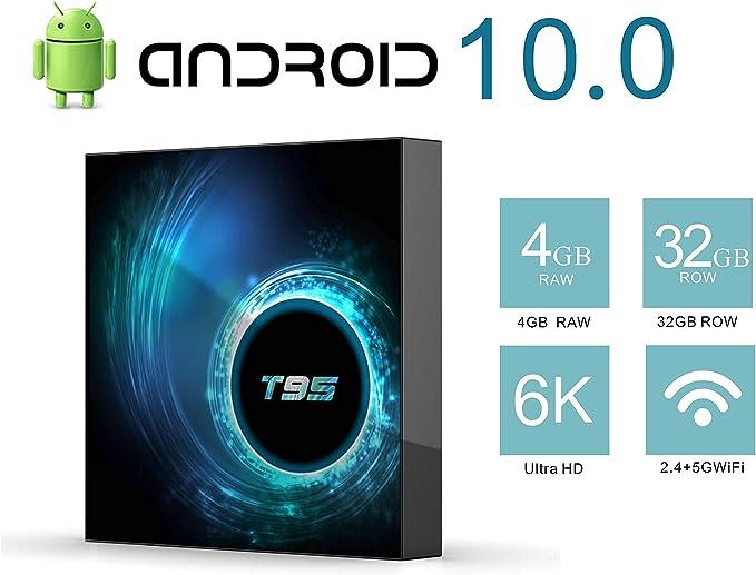 TV Box Android 10.0 TV Box H616 Quad-Core CPU 4GB RAM 32GB ROM Ultra HD 6K Resolution 2.4GHz WiFi 100M LAN 2USB2.0 Smart Media Player: Amazon.es: Electrónica
