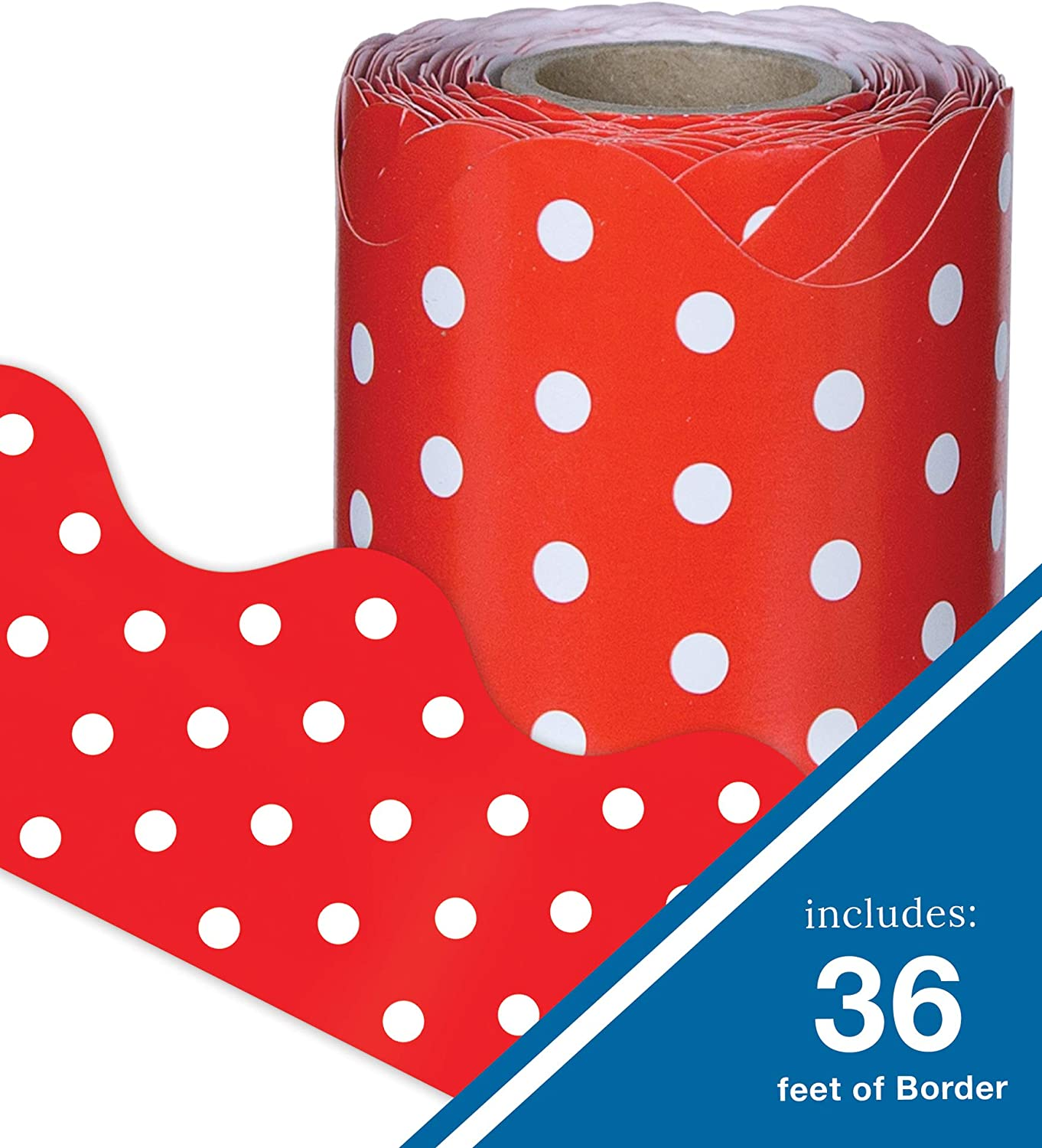 Red and White Dots Rolled Bulletin Board Borders, Carson Dellosa Classroom Decorations, 36 Feet