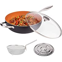 MICHELANGELO 5 Quart Nonstick Woks and Stir Fry Pans With Lid, Frying Basket & Steam Rack, Nonstick Copper Wok Pan With…