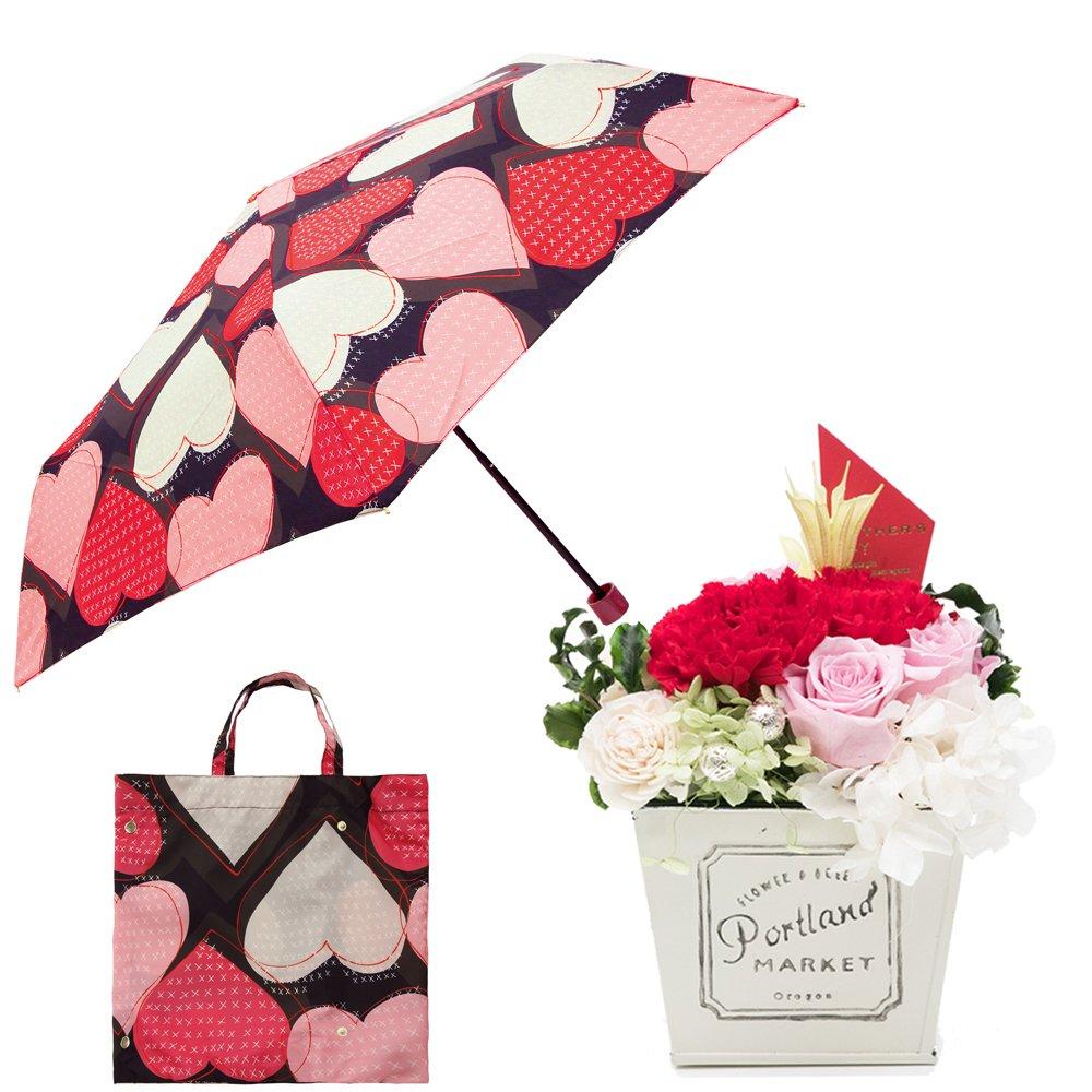 母の日ギフト プリザーブドフラワーと折り畳み傘のギフトセット B07CJD46RP お花:赤/Mサイズ|ハートステッチ/クロ ハートステッチ/クロ お花:赤/Mサイズ