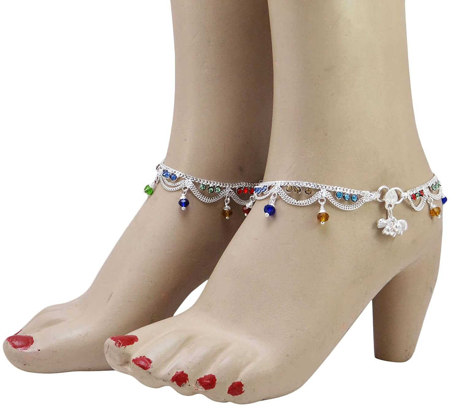 Banithani Indian Ethnic Bollywood Anklet Silvertone Asian Traditional Jewelry