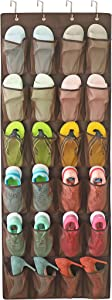 Felibeaco Over The Door Hanging Shoes Organizers , Ove Door Shoes Hang Holder Rack with 24 Large Mesh Pockets , Clear Fabric Shoes Hanger Storage Organizer Bag for Bedroom,Pantry,Dorm,Brown
