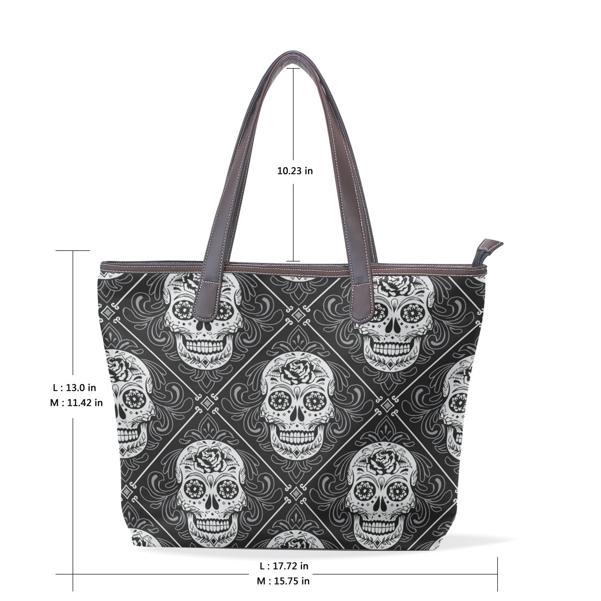 Sugar Skull Dia De Los Muertos Womens Fashion Large Tote Ladies Handbag Shoulder Bag