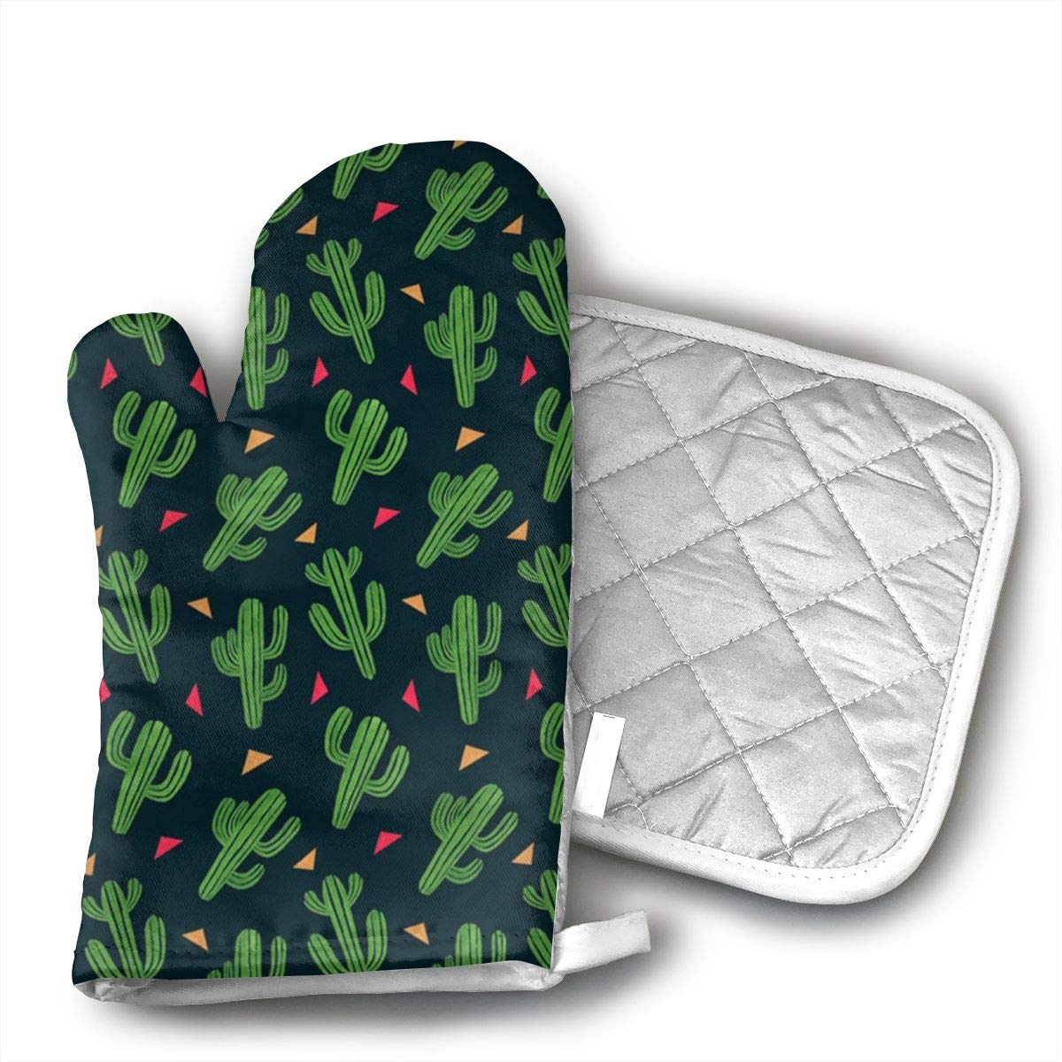 JFNNRUOP Cactus Fiesta Oven Mitts,with Potholders Oven Gloves,Insulated Quilted Cotton Potholders