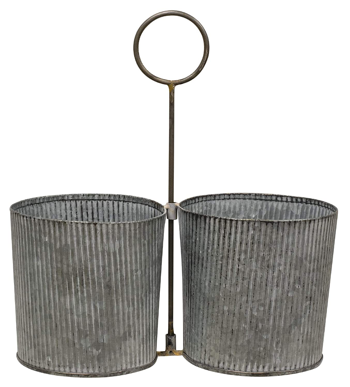 Craft House Designs Galvanized Desk Organizer Accent or Utensil Caddy for Rustic Farmhouse Industrial Style