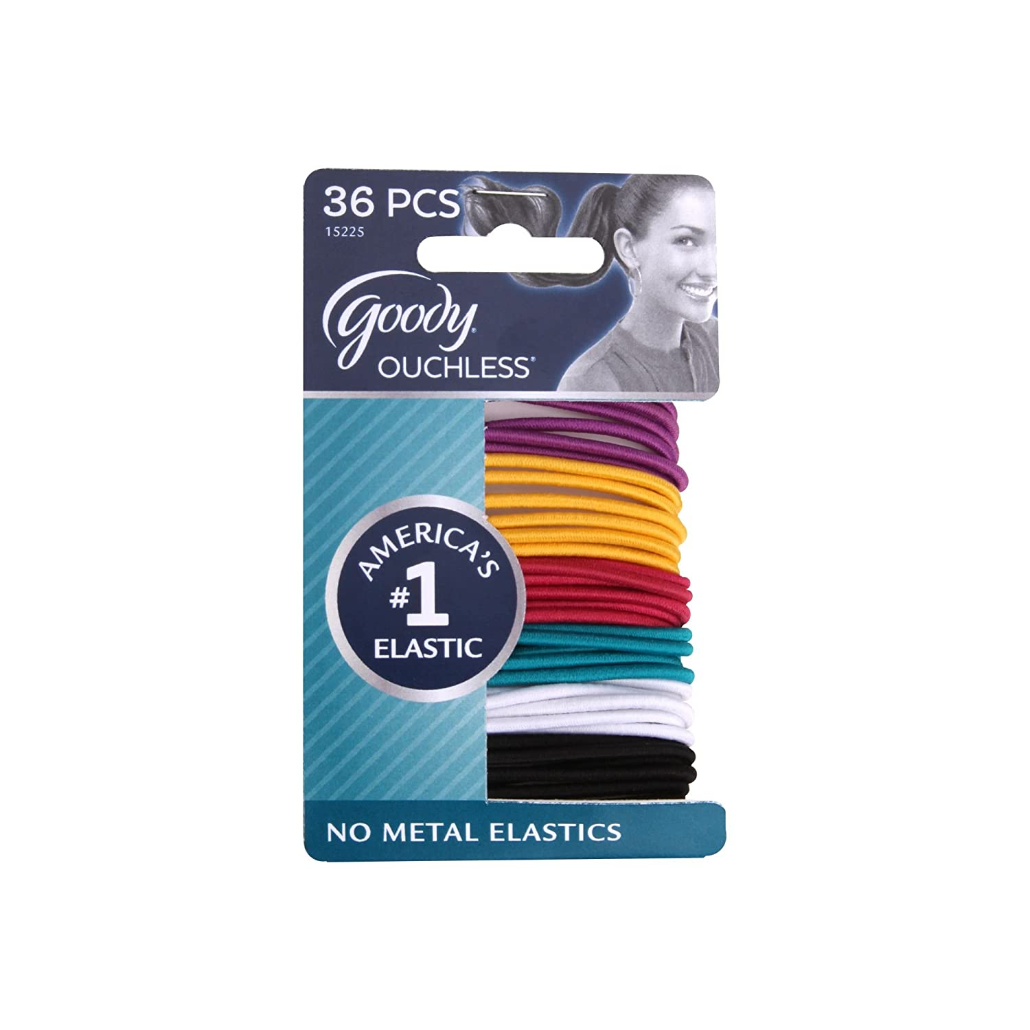 Goody Ouchless No Metal Hair Elastics, Brooke, 2 mm, 36 Count 15225