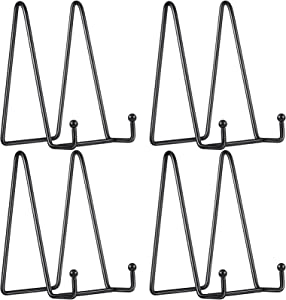 4 Pieces Metal Display Stands Metal Platter Stands Black Iron Easel Plate Holders Metal Frame Holders for Photo Picture Decorative Plate Dish and Tabletop Art (3 x 6 Inch)