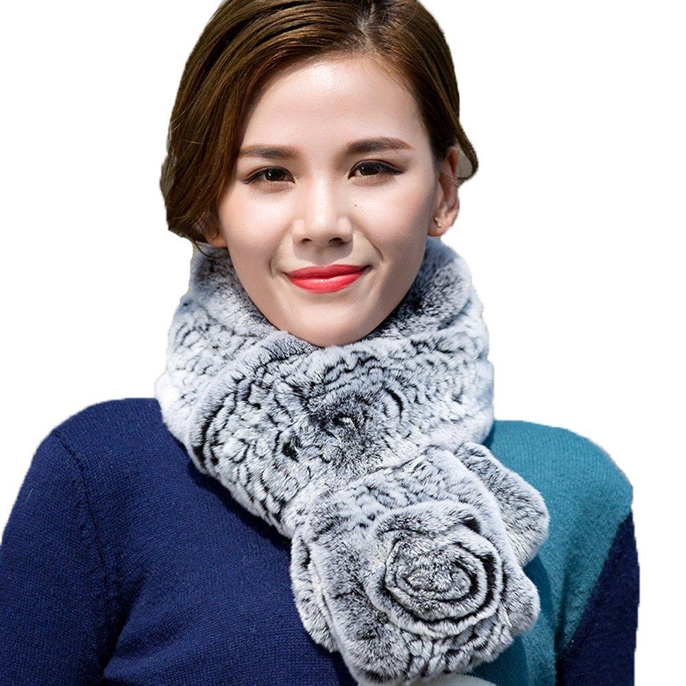 Black1 MINGXINTECH womens rabbit fur long scarf double layer winter wrap fashion stole