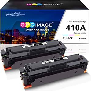 GPC Image Compatible Toner Cartridge Replacement for HP 410A 410 A CF410A to use with Color Laserjet Pro MFP M477fdw M477fdn M477fnw Color Laserjet Pro M452dn M452nw M452dw Printer Toner(2 Black)