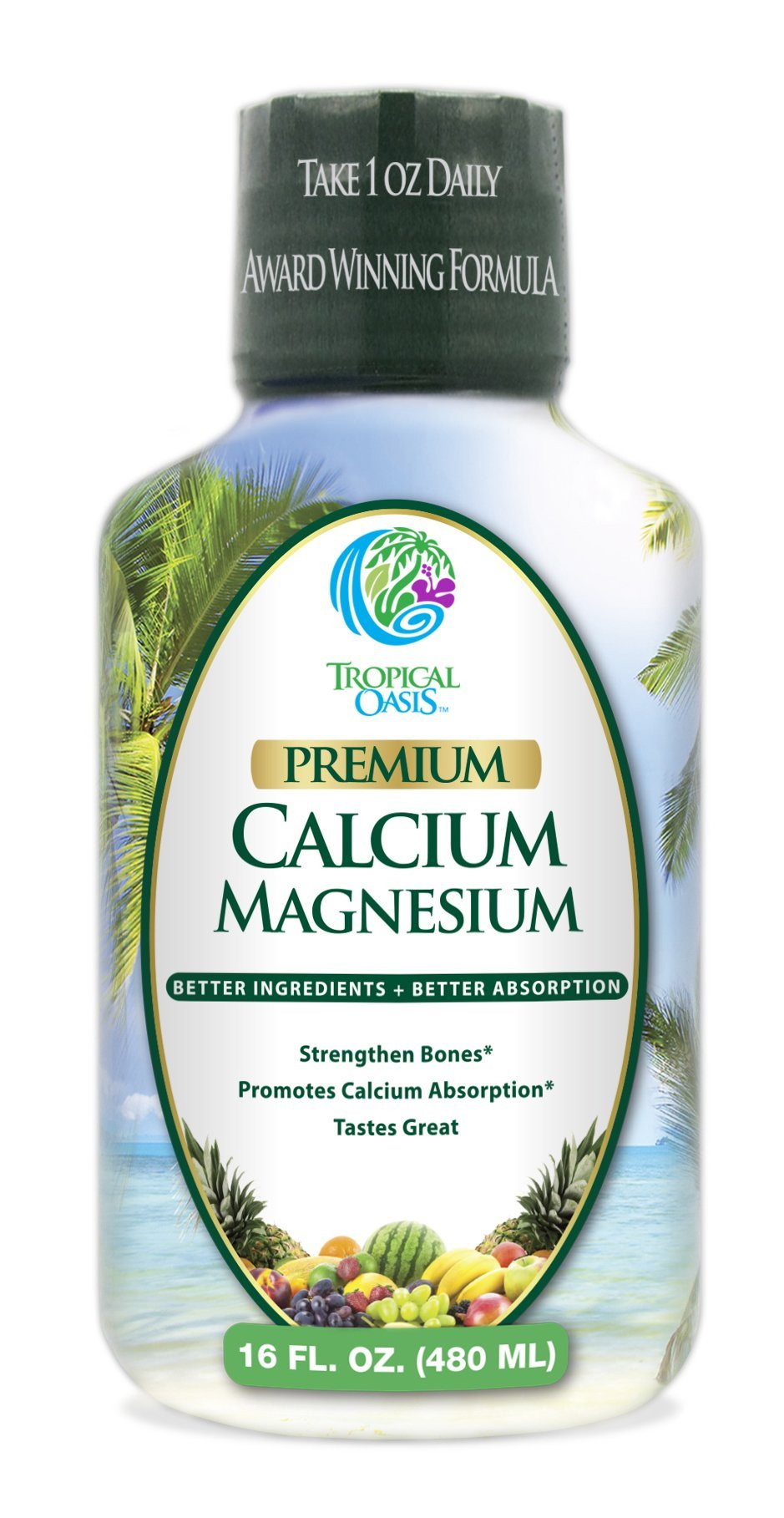 Tropical Oasis Liquid Calcium & Magnesium - Natural formula w/ support for strong bones - Liquid vitamins w/ calcium, magnesium & vitamin D - Up to 96% absorption by the body. - 16oz, 32 Serv.