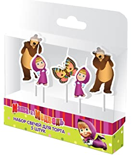 Festive Set of 5 Candles of Figures Masha and the Bear Party Supplies Cake topper for