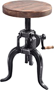 Topower American Antique Industrial DIY Crank Stool Cast Iron Three-Legged Chair Bar Stool (01#, Wood)