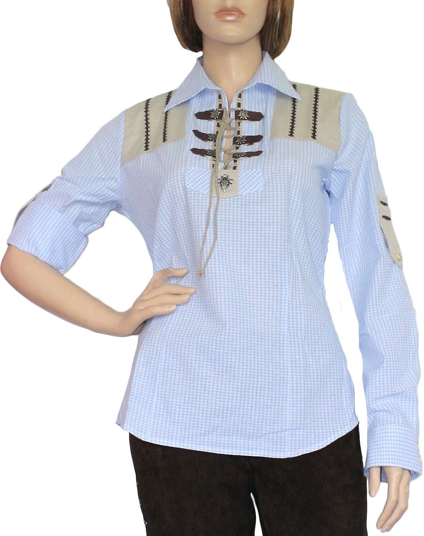 Trachtenbluse Damen Trachten lederhosen-bluse Trachtenmode hellblau kariert