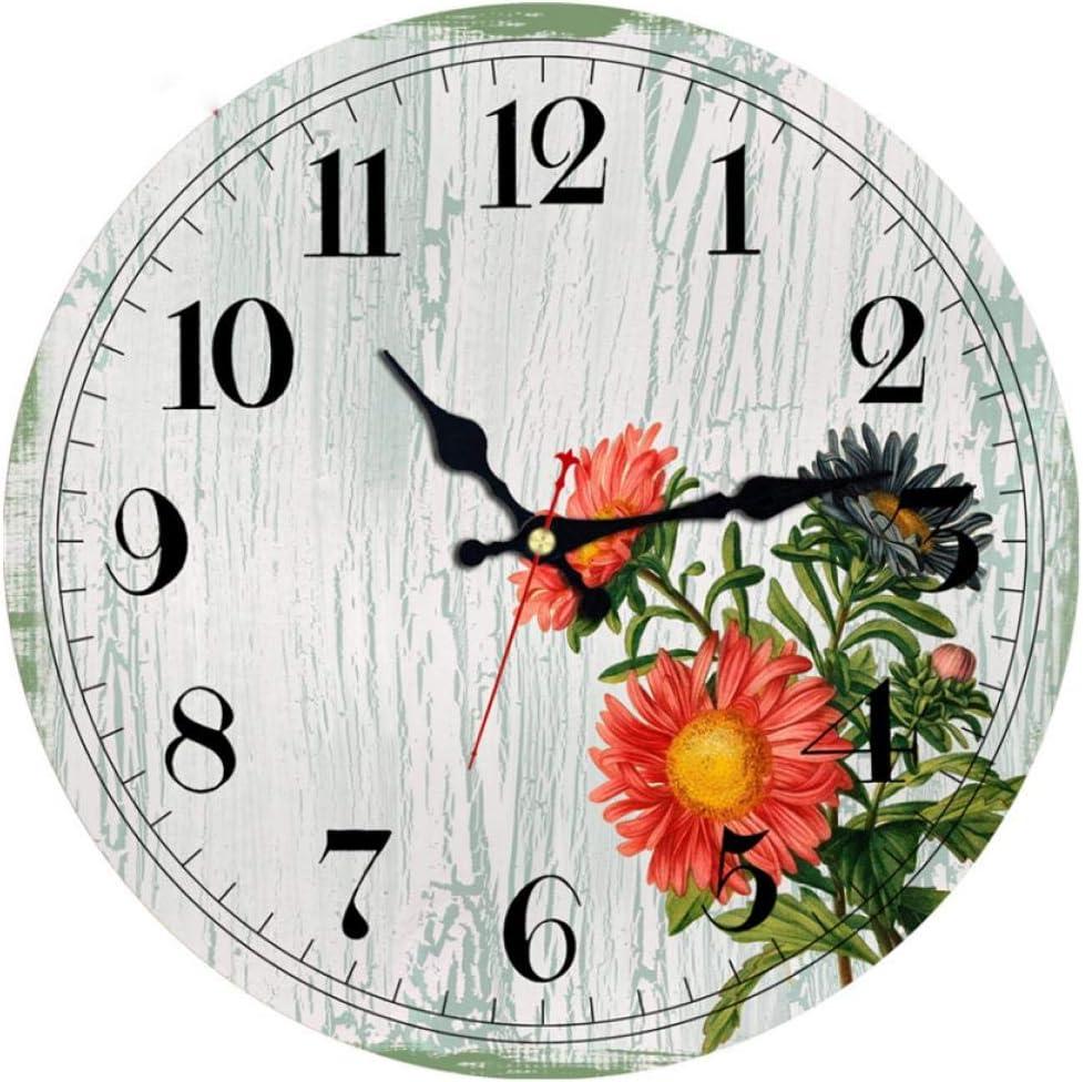 ZYZYY 12inches Vintage Scenery Relojes de Pared Grúa de Corona roja Reloj silencioso en el jardín y la Vida en el hogar Sala de Estudio Decoración Arte Pared Relojes Grandes