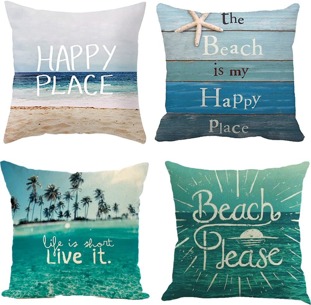 Qinqingo Pillow Covers 18 x 18 inch Summer Beach Decoration Throw Pillow Case Cotton Linen Quote Cushion Cover Sofa Home Decor (Set of 4)