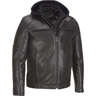 Wilsons Leather Mens Leather Jacket W/ Hood L Black