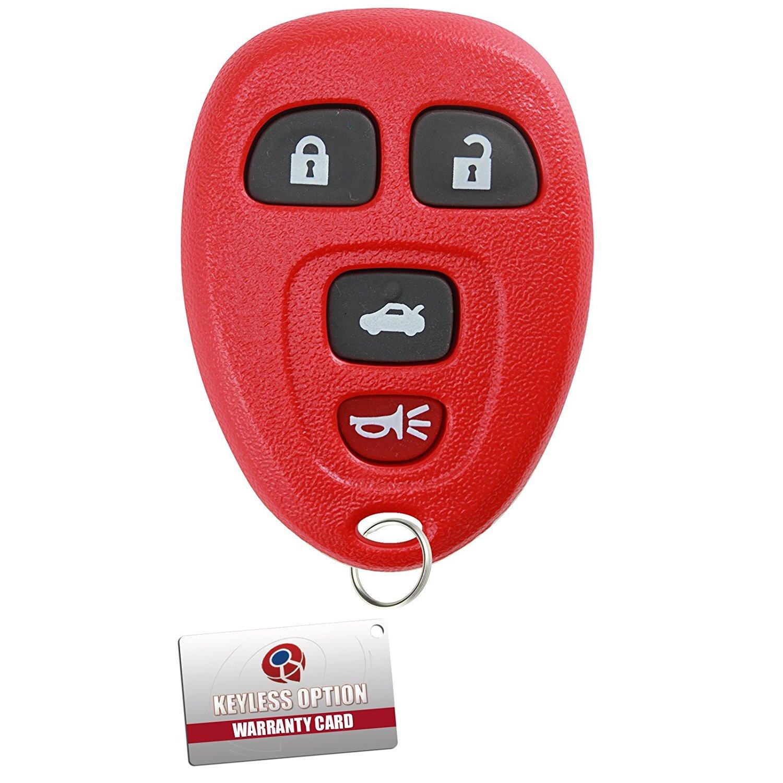KeylessOption Keyless Entry Remote Control Car Key Fob Replacement 15912859 Red