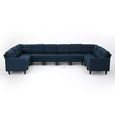 Christopher Knight Home 303607 Emmie Mid Century Modern U-Shaped Sectional Sofa, Navy Blue/Dark Brown