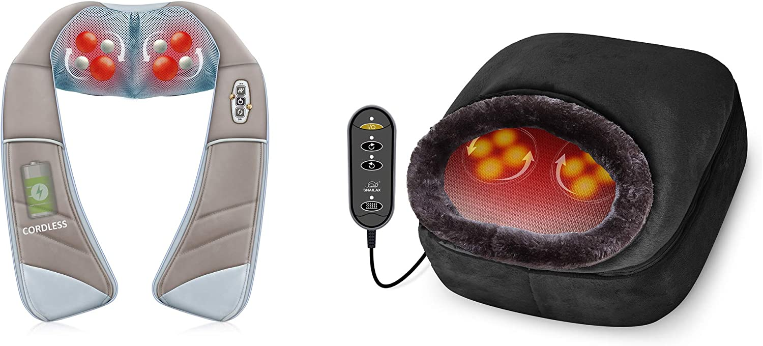 Snailax 2-in-1 Shiatsu Foot and Back Massager Neck Massager Bundle - Kneading Feet Massager Machine with Heating Pad, Back Massage Cushion or Foot Warmer,Massagers for Back,Leg,Foot Pain Relief