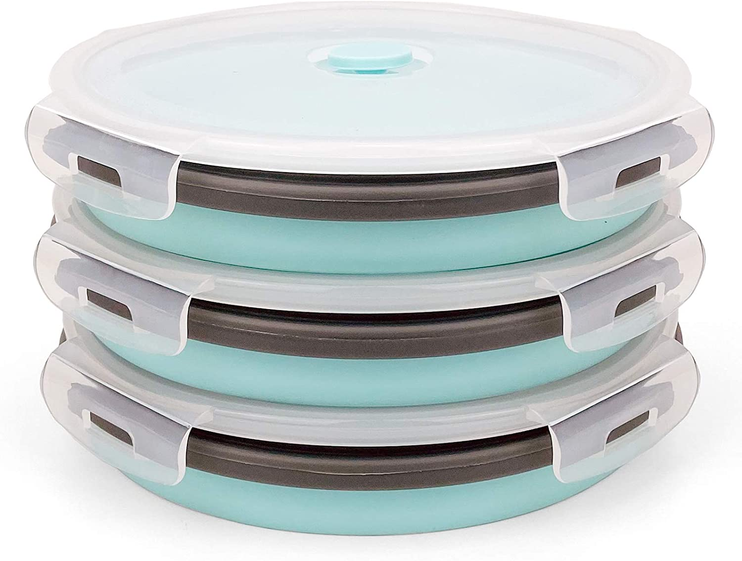 CARTINTS 1200ml Large Collapsible Meal Prep Containers, Reusable Silicone Food Storage Containers, Stackable Fridge Storage Containers, With Leakproof Lids, Microwave and Freezer Safe, Blue