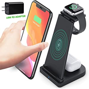 Wireless Charger, LUKKAHH 3 in 1 Wireless Charging Station for iPhone 12/11pro/SE/Xs Max Apple Watch 6/5/4/3/2 AirPods 2/Pro,Wireless Charging Stand for Samsung S20 (with 18W QC 3.0 Adapter) (Black)