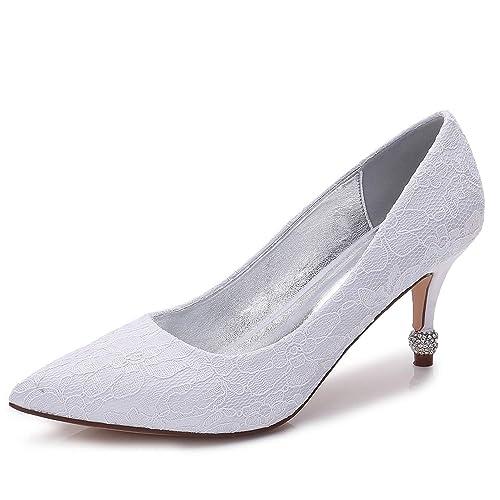 ad981c272f1 Elobaby Women Wedding Shoes Low Heel Satin Almond Custom Made High ...