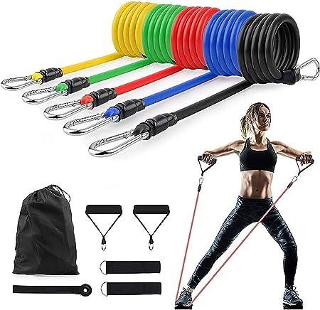 UK 11 Piece Set Resistance Bands Workout Exercise Yoga Crossfit Fitness Tubes