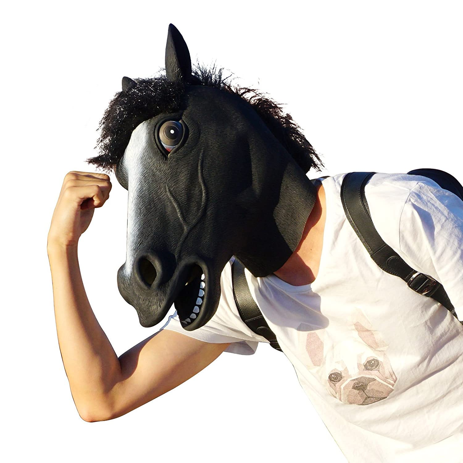 CreepyParty Deluxe Novelty Halloween Costume Party Latex Animal Head Mask Horse head(black)