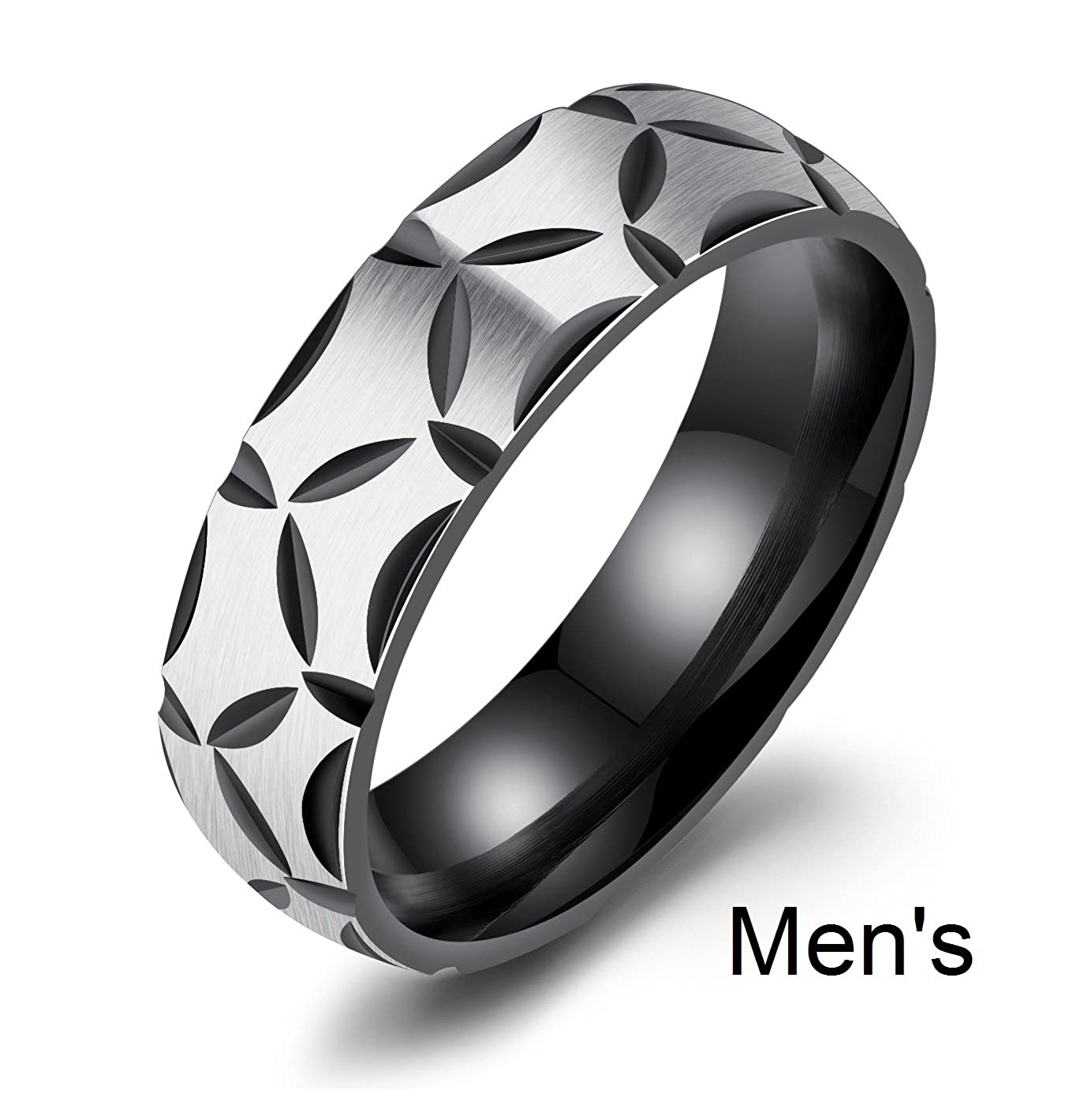 Amazing Black Power Titanium Stainless Steel Wedding Band Set Anniversary Engagement Promise Ring
