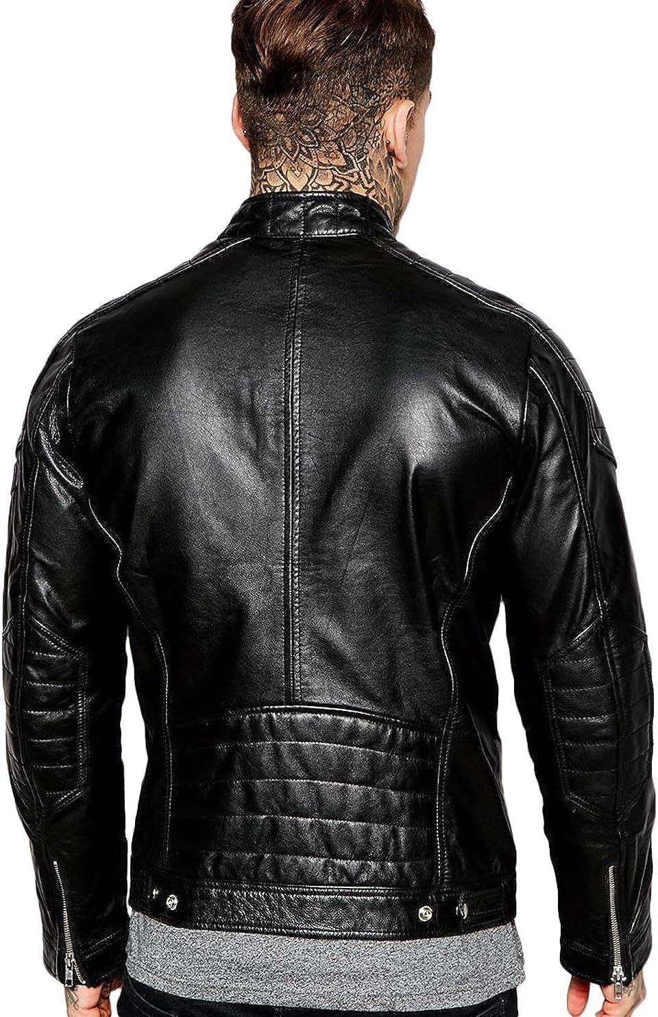 New Men Motorcycle Black Lambskin Leather Jacket Coat Size XS S M L XLX1513