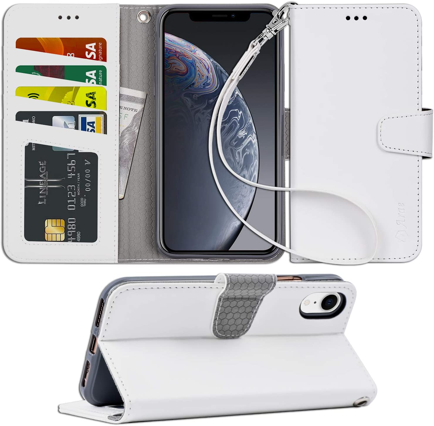 Arae Wallet Case for iPhone xr 2018 PU Leather flip case Cover [Stand Feature] with Wrist Strap and [4-Slots] ID&Credit Cards Pocket for iPhone Xr 6.1 inch (xr 6.1 White)