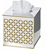 "Diamond Lattice Gold Tissue Box Cover Square (6"" x 6"" x 5.75"") – Decorative Bath Tissues Paper Napkin Holder- Modern Serviette Napkins Container- Bottom Slider- For Cute Elegant Bathroom Décor"