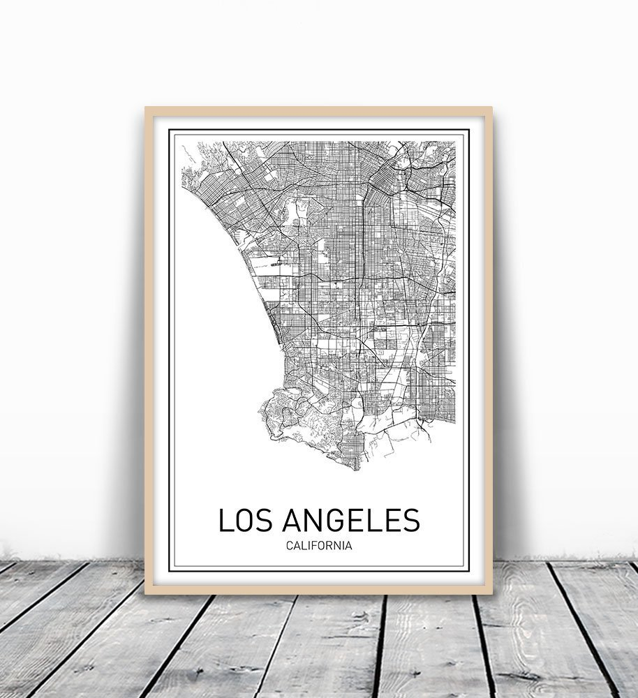 Amazoncom Los Angeles Map City Map Poster Los Angeles Print - Los angeles poster black and white