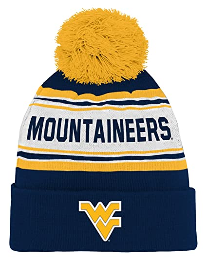 40c4d2c7389 NCAA by Outerstuff NCAA West Virginia Mountaineers Toddler Jacquard Cuffed  Knit Hat w  Pom