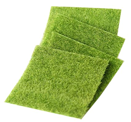 Niyatree 4 pcs césped artificial verde 15 * 15 cm espuma artificial de ferrocarril placa decoración