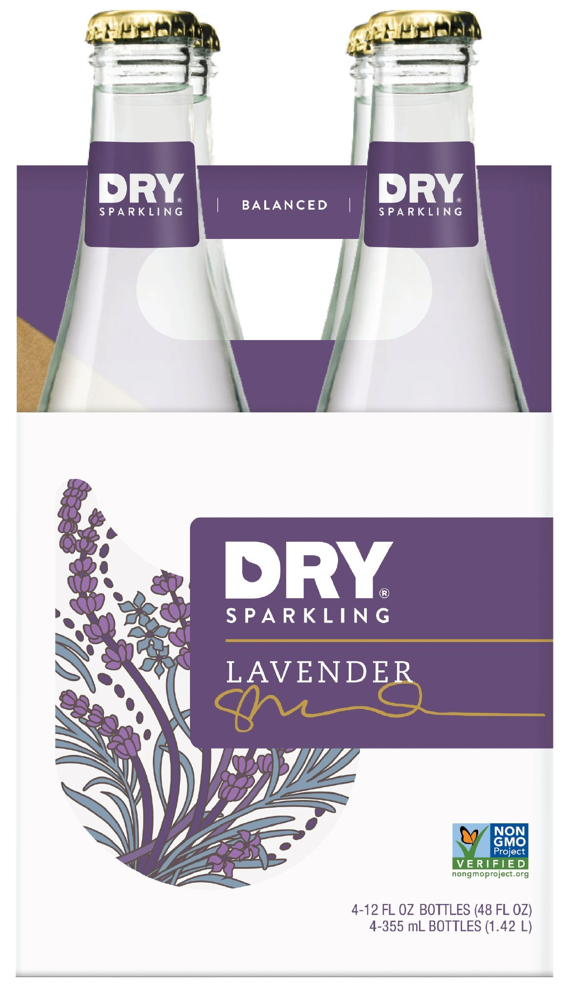 DRY Sparkling Soda, Lavender, 12 oz Bottles (Pack of 4)
