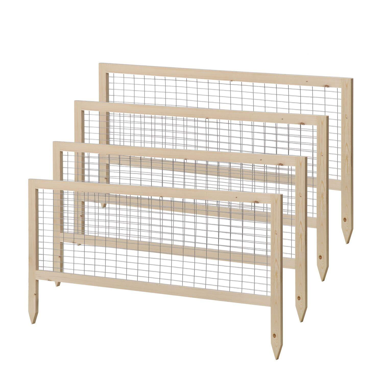 Leisurelife Raised Garden Bed Planter Wooden Frame Metal Garden Fence Kit, 45'' x 45'' x 23'', Tool-Free