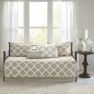 Madison Park Essentials Merritt Daybed Size Quilt Bedding Set - Taupe, Geometric – 6 Piece Bedding Quilt Coverlets – Ultra Soft Microfiber Bed Quilts Quilted Coverlet