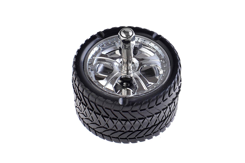 Cenicero de aleación de cinc y plástico, con forma de neumático, de 9'5cm de diámetro, Mod. 750 de 9' 5cm de diámetro