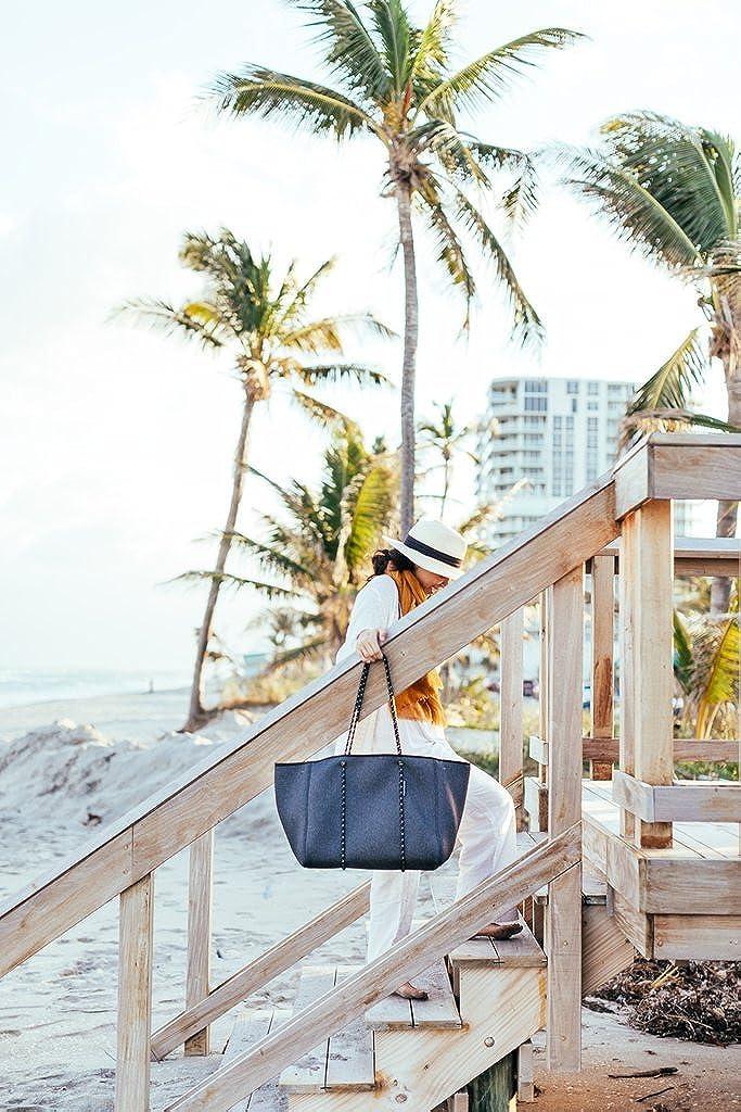 Casper /& Coal Multipurpose Tote Beach Bag with Neoprene Exterior//Charcoal