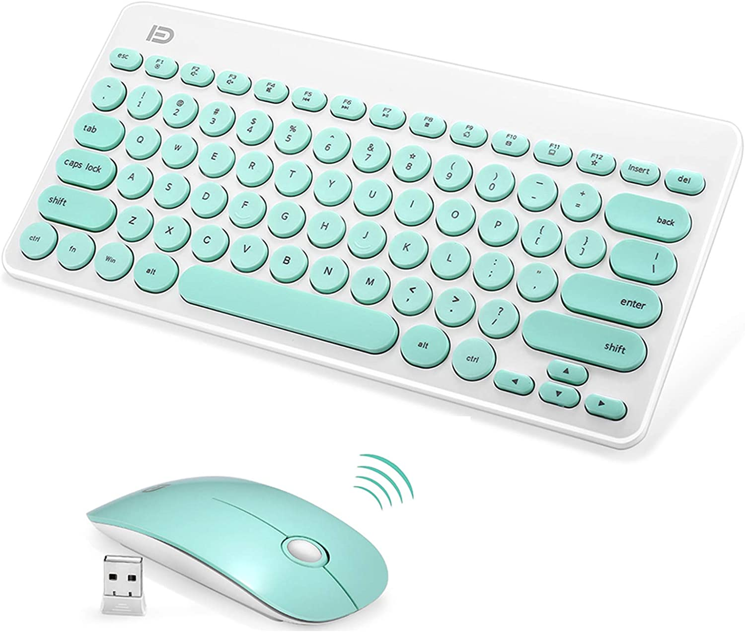 Wireless Keyboard and Mouse Combo, FD iK6620 2.4GHz Cordless Cute Round Key Set Smart Power-Saving Whisper-Quiet Slim Combo for Laptop, Computer,TV and Mac (79-Key, Mint Green No Number Keys)
