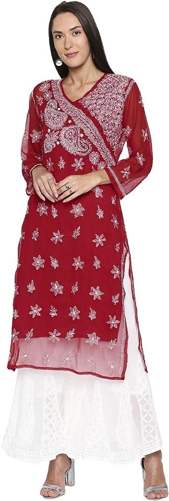 Details about  /Indian Diwali Vintage Lucknawi Chikan Boho Kurti Ethnic Kurta Express Shipping